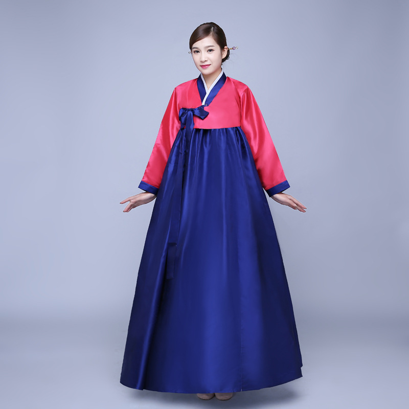 Cheap Red And Blue Traditional Korean Hanbok Dresses Women Hanbok Clothing Dance Dress Costume