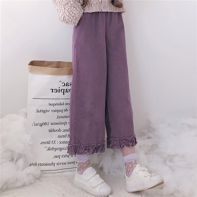 Japanese Fall Winter Women Lolita Style Pants Purple Khaki Corduroy Wide Leg Pants Preppy School Girl Cute Kawaii Ruffles Capris