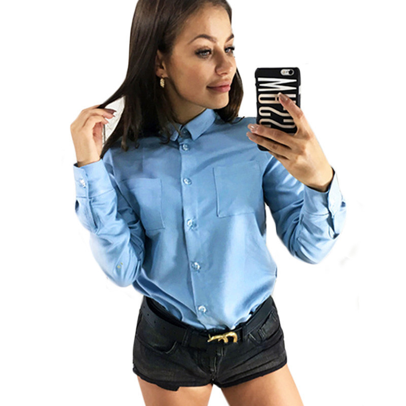 New Blouse 2019 Women Elegant Shirts For Office Solid Long Sleeve Tops Turn-down Pockets Ladies Blouse Plus Size Tops Top