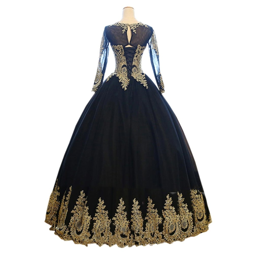 20c2847021a5 Sexy Black Gold Ball Gown Long Sleeve Prom Evening Dresses Cheap 2017  Illusion Long Sleeve Corset Back Lace Applique Formal Gown-in Prom Dresses  from ...