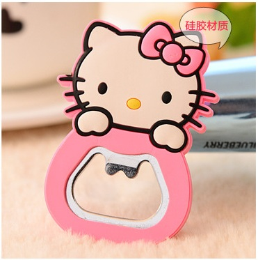 2017 50pcs Cartoon Kitty Cat Stainless Steel Beer Bottle Opener with Magnet can be Fridge Magnet