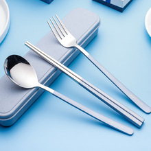 3PCS Dinnerware Set Stainless Steel With Box and Bag Plating Knife Fork Tableware Cutlery Western Food Set For Kid