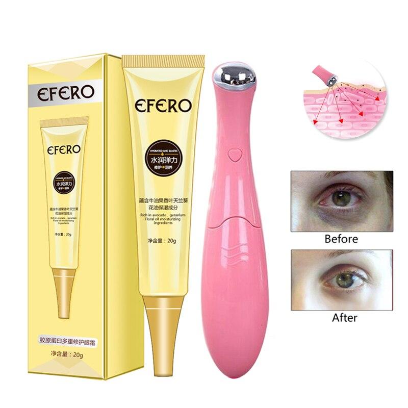 1Pcs Collagen Eye Cream Remove Dark Circles Anti-Aging Serum + Electric Vibration Massager Firming Lifting Care