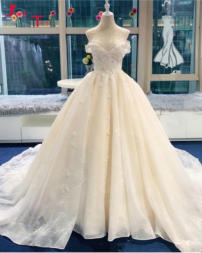 Jark Tozr 2019 Newest Lace Gorgeous Ball Gown Wedding Dresses Chapel Train Pearls Appliques Vestidos de Noiva Simples Gelinlik