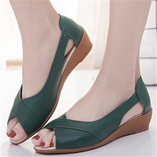 2018 summer new leather fish mouth shoes with heel womens sandals casual fashion women
