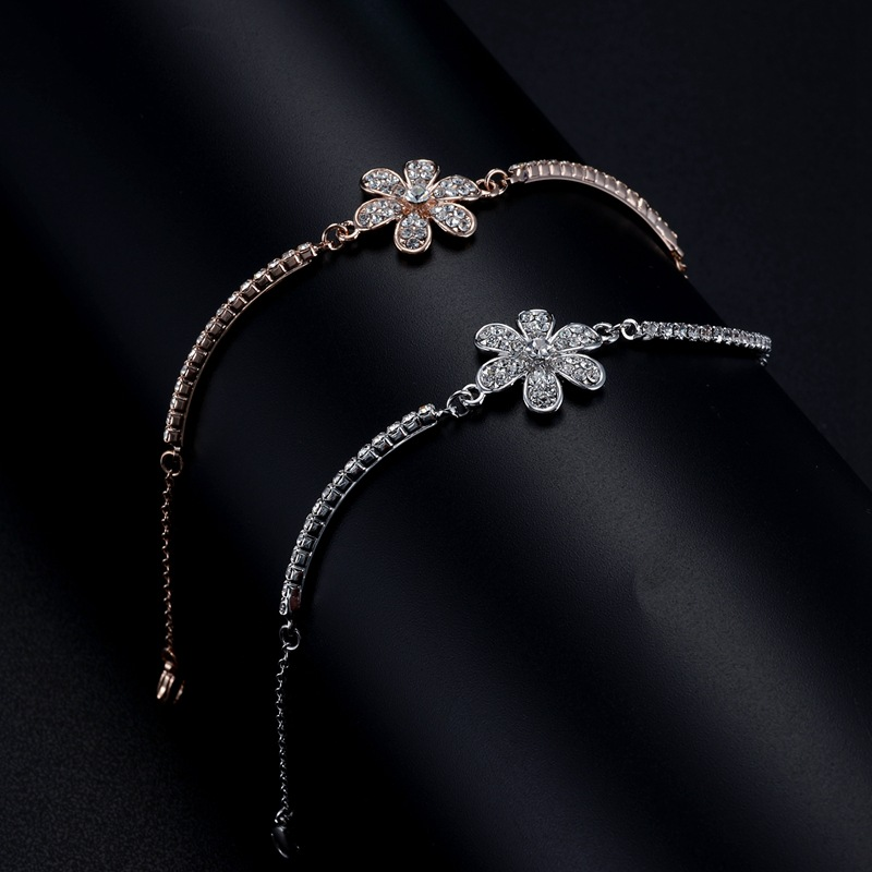 Flower rose gold color bracelet/korean elegant women cristal pulseiras wholesale/bijoux femme/pulseras/braslet/braccialetti