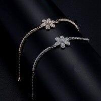 Hoa rose gold màu vòng đeo tay/hàn quốc phụ nữ thanh lịch cristal pulseiras bán buôn/bijoux femme/pulseras/braslet/braccialetti