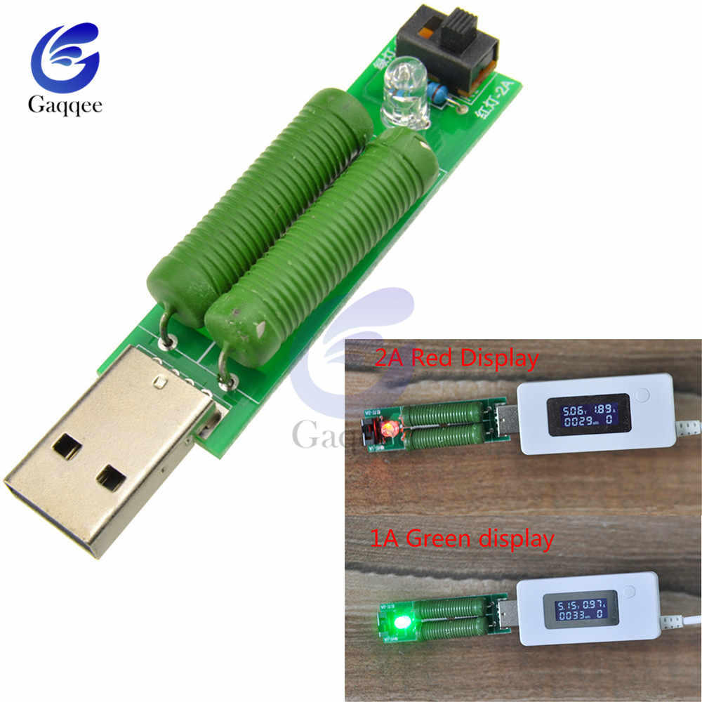 USB Mini Discharge Interface Load Resistor with Switch 1A Green 2A Red LED battery capacity voltage discharge resistance tester