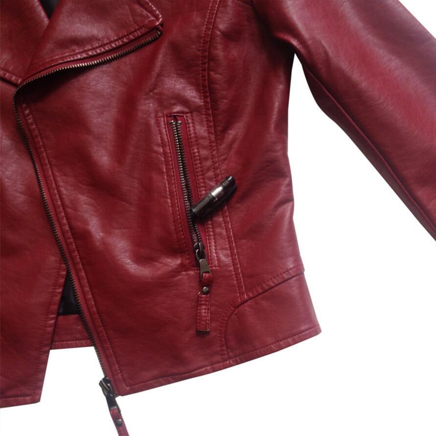 Leather jacket europe - 2xl 3xl Big Size Spring 2017 Female Leather Jacket Women Europe Short Slim Motorcycle Jacket Epaulet Fashion Casual Ladies Coat In Leather Suede From