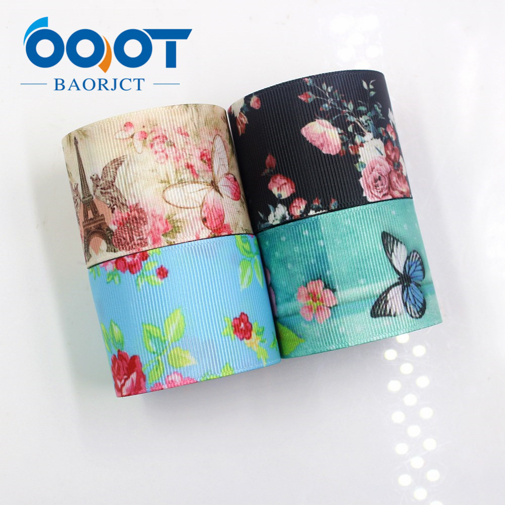 OOOT BAORJCT I-181110-239,38mm 10yards Butterfly Flower Ribbons Thermal Transfer Printed Grosgrain,Gift Wrapping DIY Materials