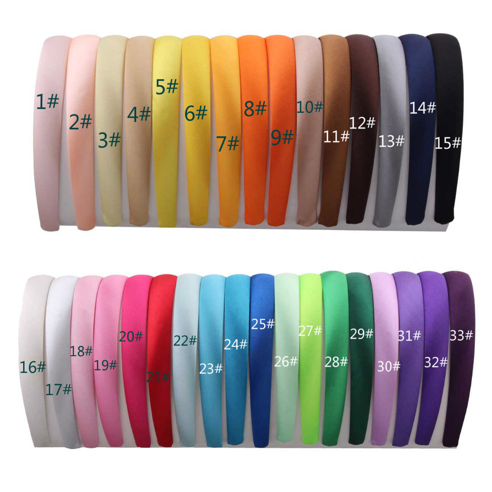 1 lot 33pcs Colored Satin covered Hairbands 2CM Children Covered Hair headband Adult Kids headbands 33colors