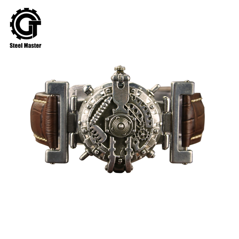 Affaires rétro Steampunk montre hommes en cuir hommes montre Unique nouveau Quartz montres horloge femme montre Gentleman simplicité