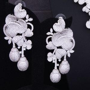 Image 3 - Budki Flor de lujo Bud mezclado mujeres circonia cúbico de boda collar pendiente Arabia Saudita conjunto de joyas adicciones a la joyería