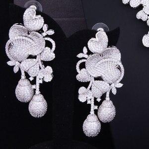 Image 3 - GODKI יוקרה פרח ניצן מעורב נשים חתונה מעוקב Zirconia שרשרת עגיל ערב הסעודית תכשיטי סט תכשיטי התמכרות