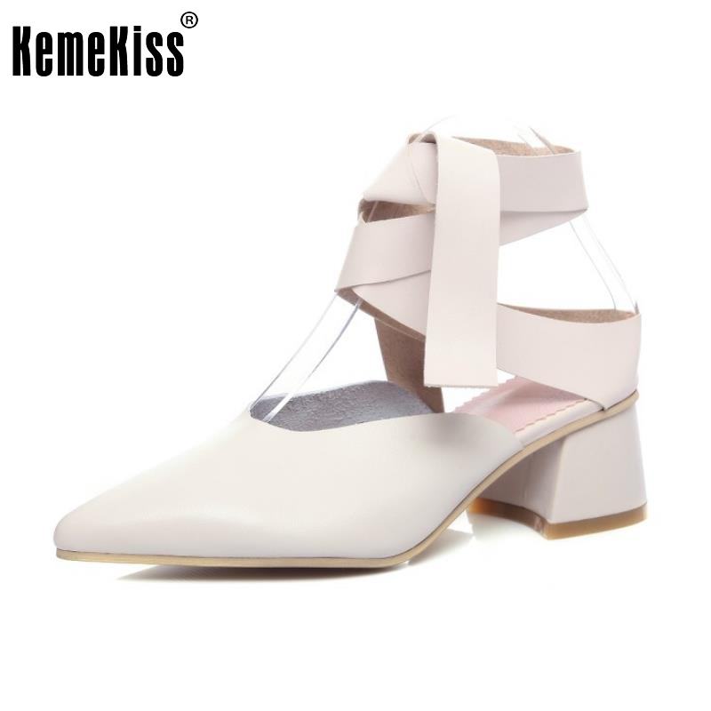 KemeKiss Sexy Ladies Real Leather High Heel Sandals Cross Strap Pointed Toe Shoes Women Sandal Party Soft Footwears Size 34-39 ladies real leather pumps shoes women pointed toe cross strap gladiator shoes fiork nude color sexy female footwear size 34 40