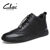 CLAX Men S Boot Genuine Leather 2017 Motorcycle Boots Male Autumn Casual Shoes Winter Shoe Fur