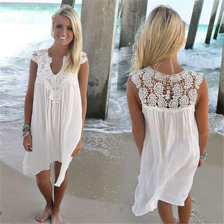 8 Colors Women Dress Summer 2018 Plus Size 3XL Sleeveless Womens Loose Summer Beach Lace Dress High Quality Dresses Vestidos