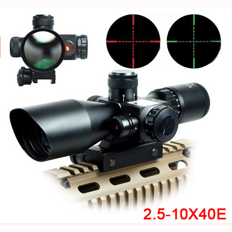Mil Dot Reticle Sight Scope Hunting Riflescope 2.5 10 x 40E Times Zoom Laser Illuminated Tactical Rifle Scope 20mm Rail Mounts-in Riflescopes from Sports & Entertainment