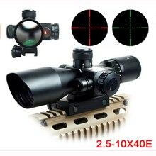 Mil dot retículo vista scope caça riflescope 2.5 10 x 40e vezes zoom laser iluminado rifle tático scope 20mm montar trilho