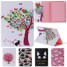 For IPad 5 Cute Cartoon Cat Tree Flower with Card Slot Stand Flip PU Leather Coque Case sFor Apple IPad Air IPad5 Tablet Cover litchi texture pu pc horizontal flip leather case for galaxy note 9 with with card slot black
