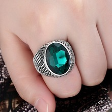 цена на Vintage Big Circle Black Green Blue Red Crystal Ring Men Fashion Alloy Finger Rings Jewelry Gift Size 17 18 19 20
