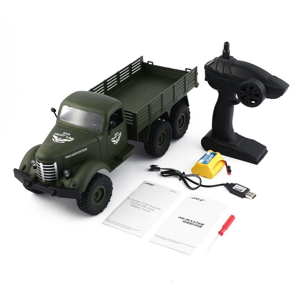 JJR/C Q60 1/16 2.4G 6WD RC Off-Road Military Truck Transporter RC Car Remote Control Vehicle for Children Gift Kids Toy remote control 1 32 detachable rc trailer truck toy with light and sounds car