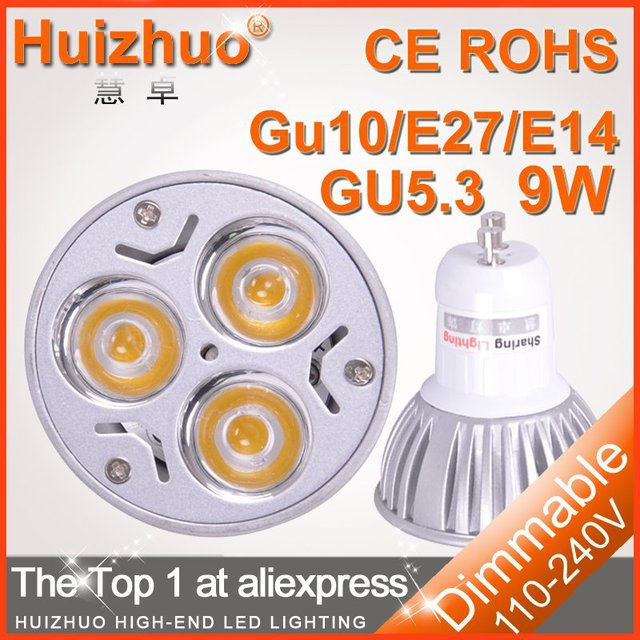 [Huizhuo Lighting]10pcs/lot Dimmable/Non-dimmable GU10 LED Bulb Lamp 3W/9W 12w 15w CE&ROHS High Power LED Spotlight Bulb