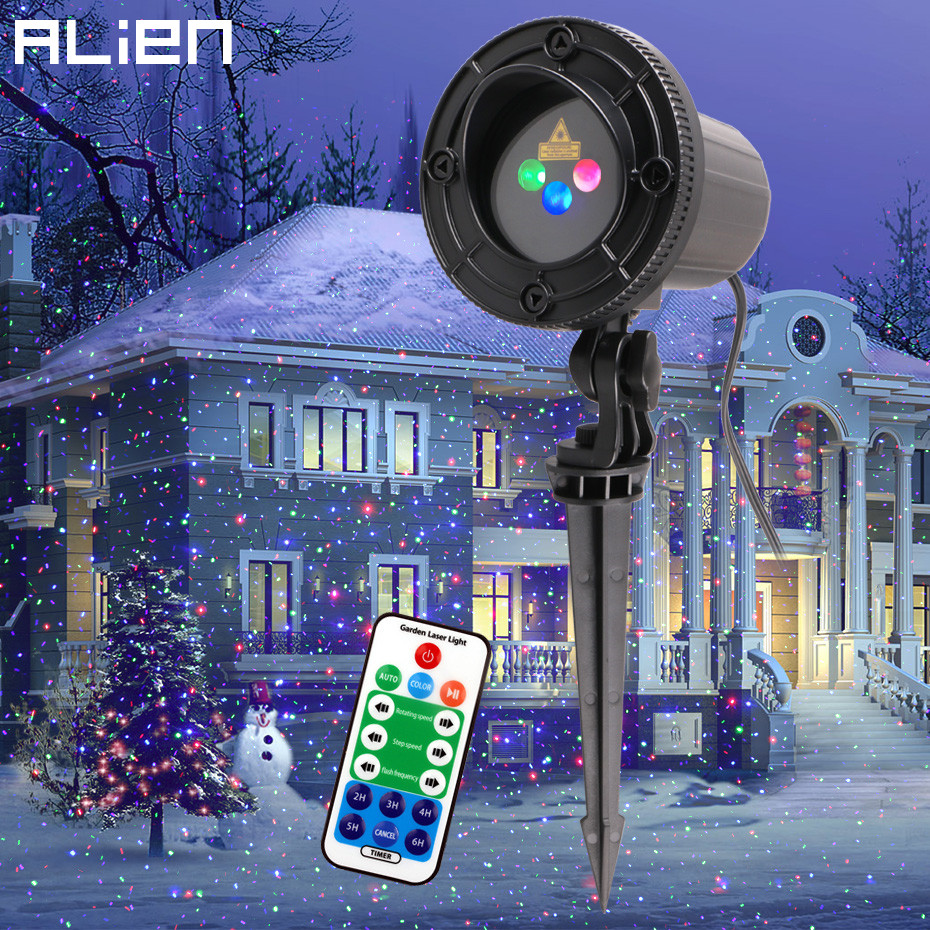 ALIEN RVB Moving Statique Points Étoiles De Noël Lumière Laser Projecteur En Plein Air Jardin de Vacances Arbre De Noël Décor Effet Afficher Lumières