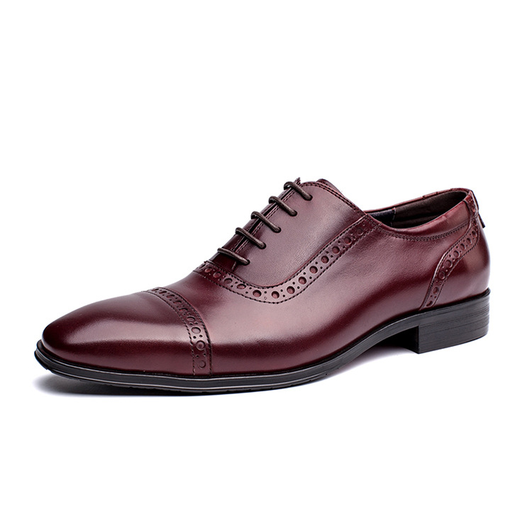 2017 New Genuine Leather Mens Oxfords Business Dress Wedding Shoes Lace-up British Style Top Quality Cow Leather Brogue Oxfords high quality men s shoes genuine leather british style mens loafers lace up business men oxfords shoes wedding dress flats shoes