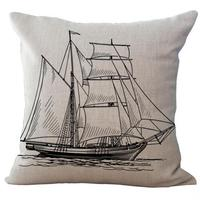 Wholesale Customized Mediterranean Series Sailing Boat Anchor Map Seaman Printed Linen Throw Pillow Case For Hotel