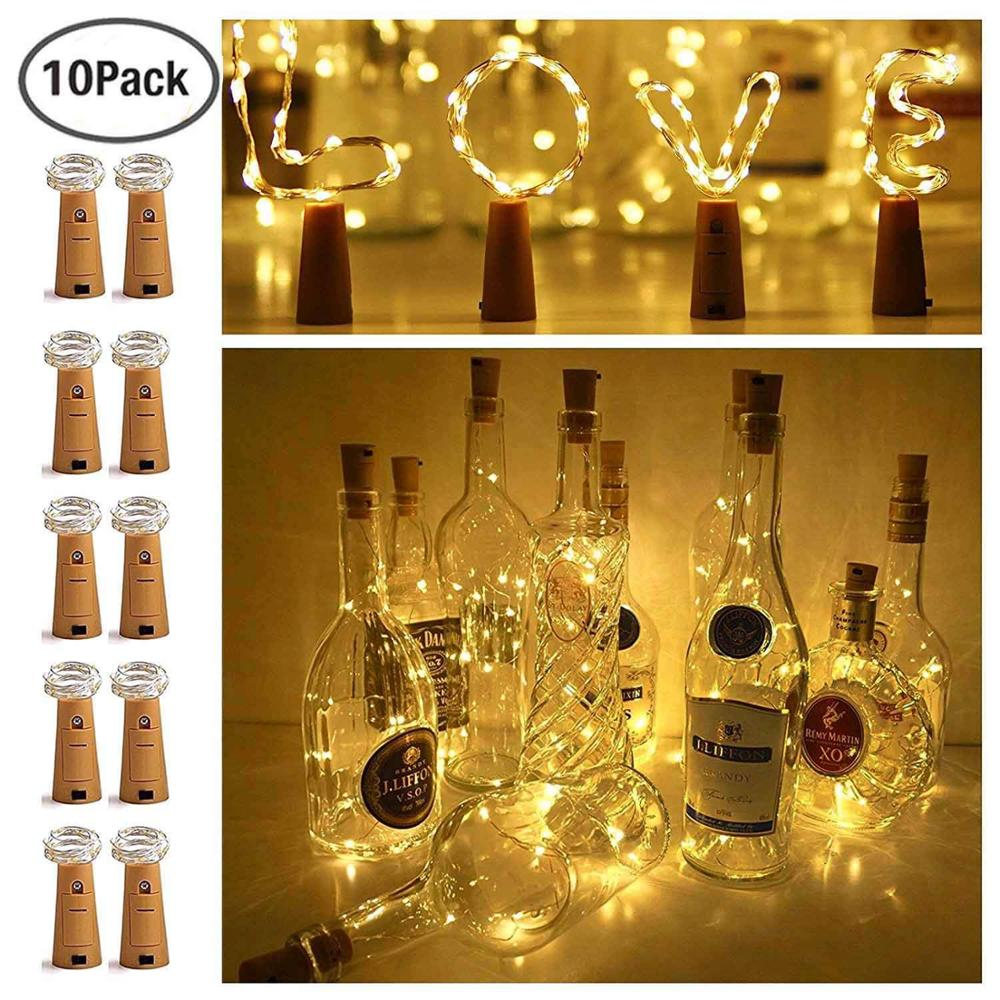 10 Packs 2M 20 LED Bottle Light String Battery Powered Waterproof Wine Bottle DIY Color LED Cork Light Wedding Party Decoration