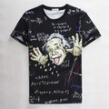 Black Einstein Print With Formula 3D Print T-shirt Cotton Tee Shirts Short Sleeve Print Casual Homme Loose Unisex Summer Tops