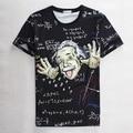 Black Einstein Print With Formula 3D Print T-shirt Cotton Tee Shirts Short Sleeve Print Casual Homme Loose Unisex Summer Tops