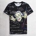 Preto Impressão Einstein Com a Fórmula de Impressão 3D T-shirt de Algodão Camisetas de Manga Curta Impressão Homme Casuais Unisex Solto Verão Tops