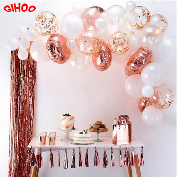 66pcs/set Rose Gold Balloon Arch Kit White Latex Balloon Wedding Party Garland Balloons Baby Shower Supplies Backdrop Decor