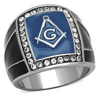 New Arrival Mansonic Stainless Steel Ring For Men Top Grade Crystal High Polish Rings Blue Black