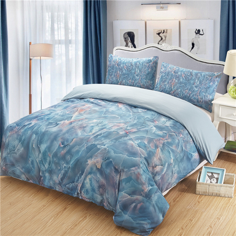 Home textile 100% Polyester Bedding Deluxe Set Marble printing three pieces set King size down quilt pillowcase no bed linenHome textile 100% Polyester Bedding Deluxe Set Marble printing three pieces set King size down quilt pillowcase no bed linen