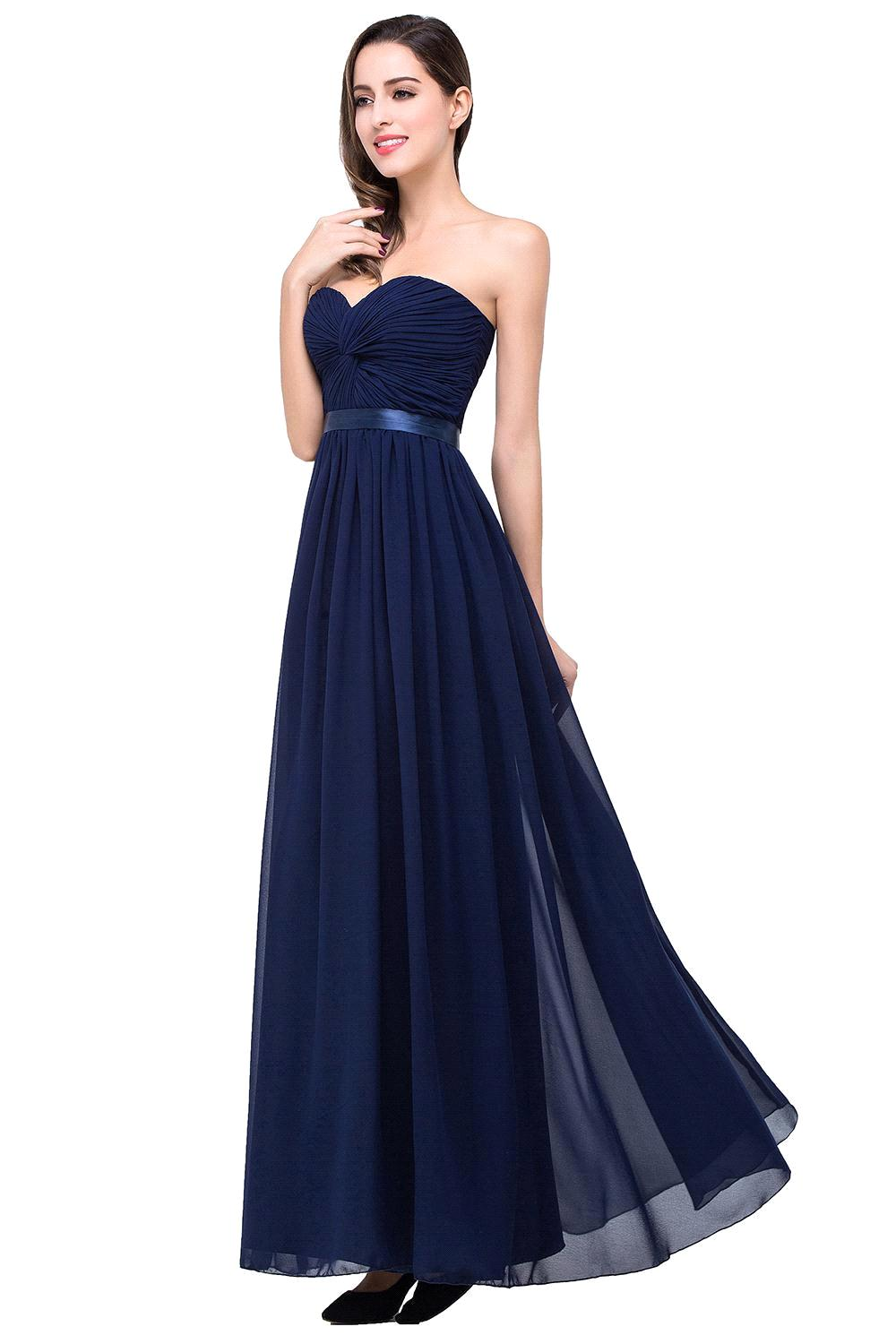Bridesmaid dresses 2016 picture more detailed picture about 3 3 colors real photo sexy sweetheart chiffon long navy blue bridesmaid dresses 2017 prom dress for ombrellifo Image collections