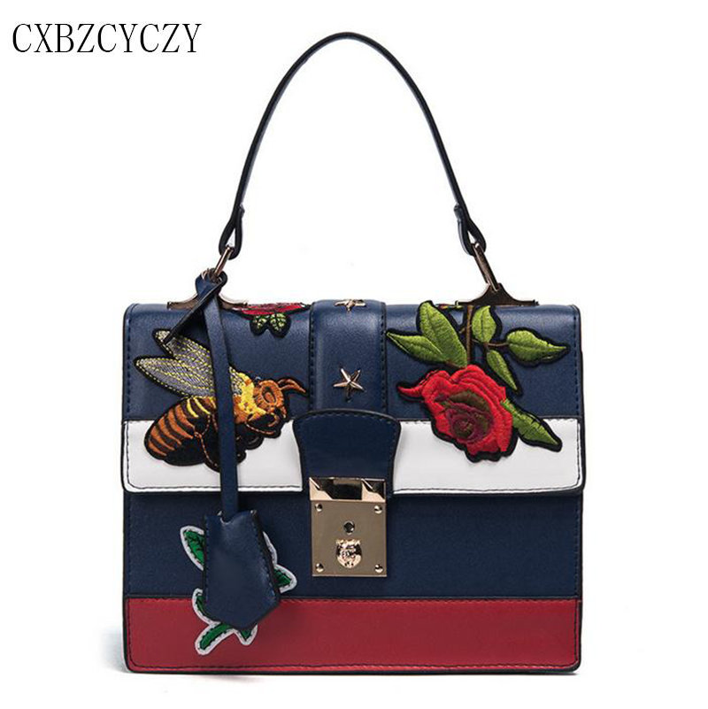 2017 Brand Famous PU Leather Handbag Tote Bag Women Luxury Handbags Embroidery Bags Designer Crossbody Bags For Women Bolsos