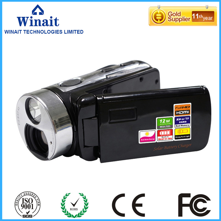 ФОТО winait dual solar panel full hd 1080p 12mp Strong Torch Light 16 digital zoom digital video camera mini video cameras battery