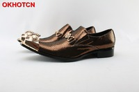 Gold Cockscomb Pointed Toe Leather Shoes Men Fashion Designer Wedding Party Shoes Cow Leather Black Metal Chain Hoop Mens Shoes