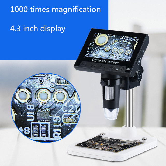Zoom in 1000 Times Fiber Textile 4.3 Inch Display Electronic Welding PCB Electronics Telephone Repair Screen Microscope Portable