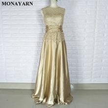 Дешевые матовое золото королевский синий Вечерние платья Длинные Плюс Размеры элегантный официальная Вечеринка платья для матери невесты платья плюс размеры