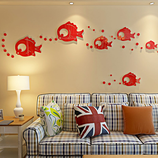Cute Bubble Fishes Design Acrylic Wall Stickers Washroom ...