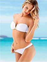2017 New Sexy Swimwear Solid Deep V Women White Strapless Bikini Set Biquini Swimsuits Split Two