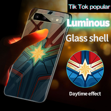 Captain Marvel Luminous Glass Phone Case For Samsung Galaxy S8 S9 S10 e 5G Note 8 9 10 Plus Batman Iron Man Cover Coque Funda