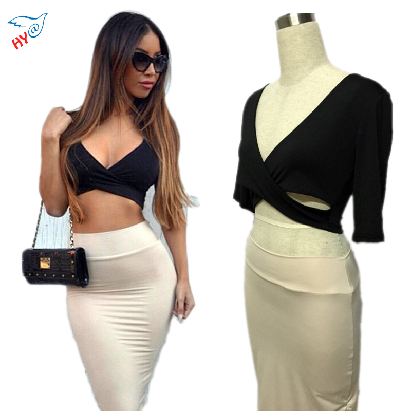 Fashion Sexy 2 Piece Set Bandage Dress  Sexy Slim Crop Tops Casual Club Two Piece Set Party Dress Ladies Designer Bodycon Skirt