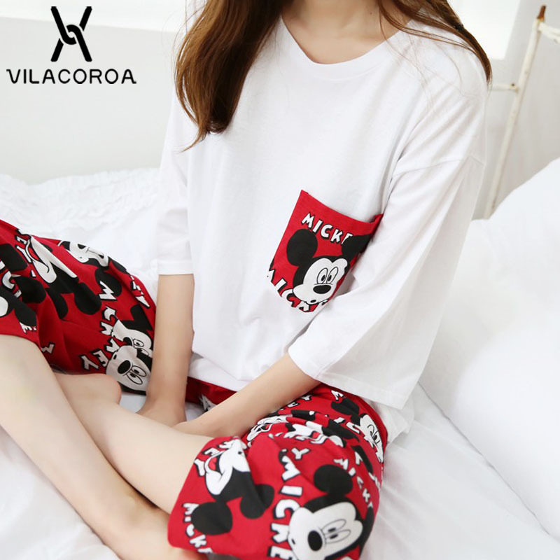 Round Neck Cartoon Mouse Pocket Pyjamas Women Plus Size Seven-Quarter Sleeve Top + Pant   Pajamas     Set   pyjama femme pijama mujer