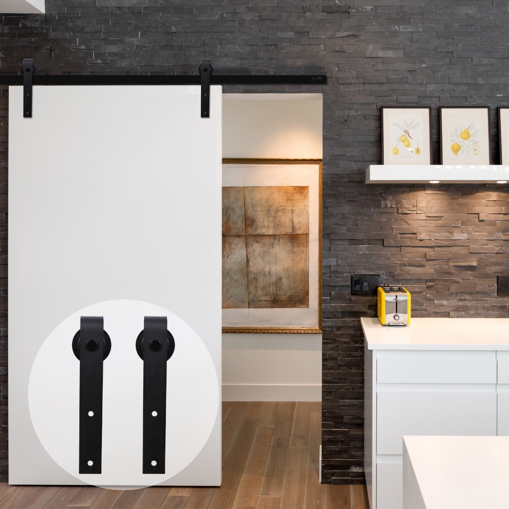 LWZH 12ft Wood Sliding Barn Door Hardware Kit Country Style Black Carton Steel J Shaped Closet Door Roller Track For Single Door