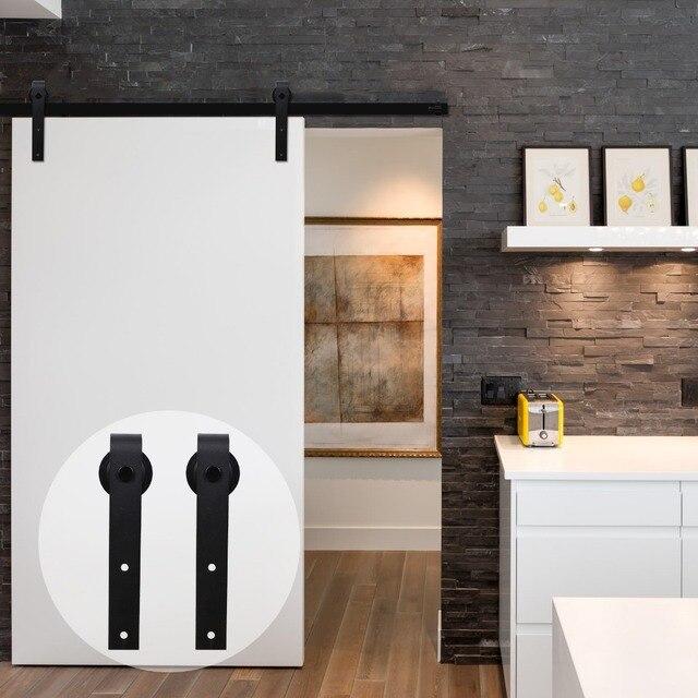 Lwzh 12ft Wood Sliding Barn Door Hardware Kit Country Style Black Carton Steel J Shaped Closet